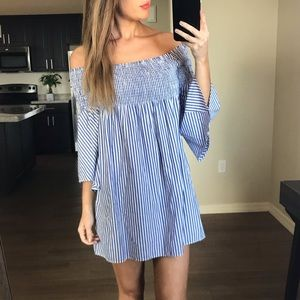 Zara Striped Smocked Off Shoulder Dress XS